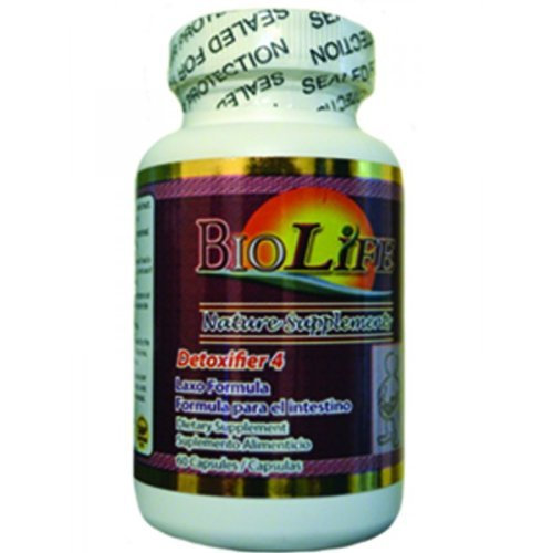 Natural Intestinal Cleanse 60 Capsules, Detox Laxo and System Support No More Constipation, Detoxifier # 4 Intestine Formula, By Biolife by Biolife