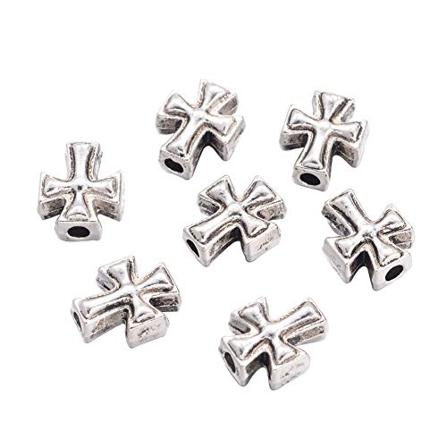 PH PandaHall 500pcs Tibetan Style Alloy Beads Antique Silver Spacer Beads 10x8mm for Jewelry Making Cadmium Free & Lead Free