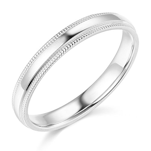 Wellingsale Ladies 14k White Gold Solid 3mm COMFORT FIT Milgrain Traditional Wedding Band Ring - Size 8.5