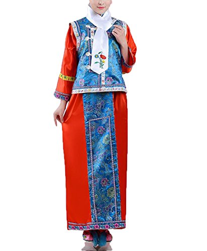 Qing Dynasty Costume (SIPEI Girl's Dress Qing Dynasty Princess performance costumes The Halloween Cosplay Blue-120)