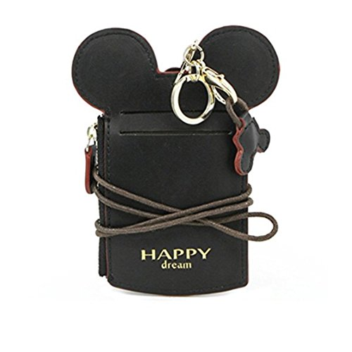 Shape Holder Card (Neck Pouch, Card Holder Wallet Purse Neck Bag Travel Documents, Cute Animal Shape for Women (Black))