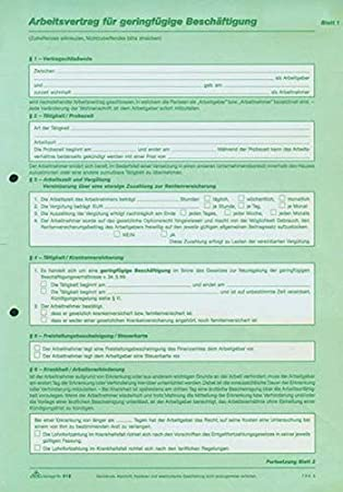 Rnk 518 Arbeitsvertrag Für Geringfügig Und Teilzeit Beschäftigte A4