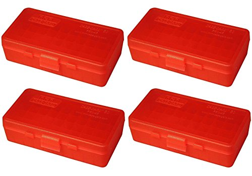 - MTM 50 Round Flip-Top 40/45/10MM Cal Ammo Box - Clear Red (4 Pack)