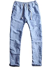 Men's Fitted Elastic Waistband Cotton Linen Pants With Drawstring