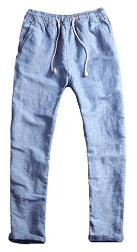 Youhan Men's Fitted Elastic Waistband Cotton Linen Pants with Drawstring (Large, Blue) by Youhan