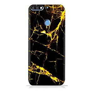 AMC Design Huawei Honor 7A TPU Silicone Protective Case with Dark and Gold Mesh Marble Pattern