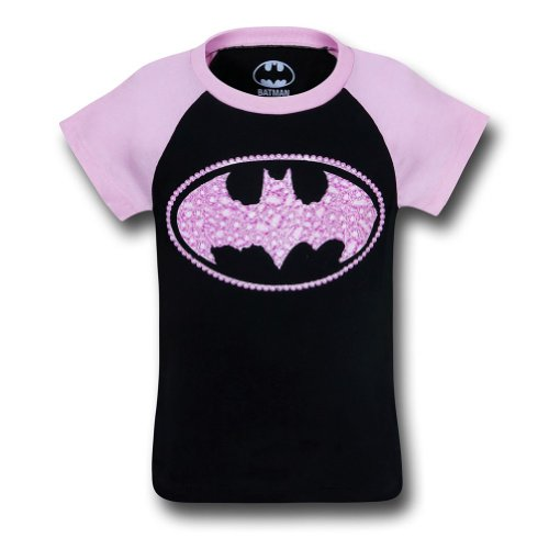 Batgirl Kids Sugar Glitter Symbol T-Shirt- Girls 5/6 (Boys T-shirt Sugar)