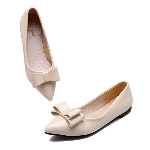 AmoonyFashion Womens Pointed-Toe Low Heel Microfiber Solid Pumps-Shoes Beige 3B2ZCec