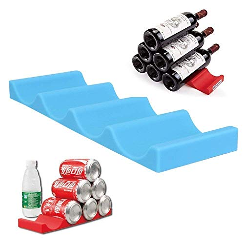 Wewin Silicone Kitchen Bottles and Cans Easy Stacker Holder Stacking Mat Organizer for Pantry Cabinet Refrigerator Fridge Storage (Blue) (Insert Glass Rack)