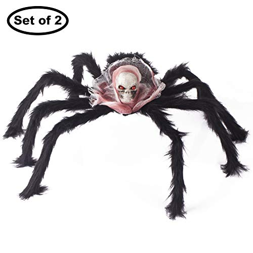 Kingyee Large Halloween Spiders Black Hairy Spiders with Skull Head Set of 2 for Scary Creepy Halloween Decorations Party Supplies Web Window Door Yard Garden Wall Decor (Black Spider) -