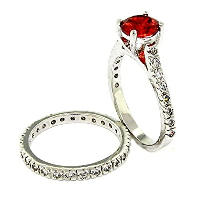classicvintage wedding ring set wgarnet white czs size 5 - Vintage Wedding Ring Sets