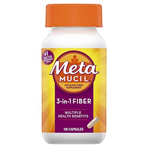 Metamucil Fiber, 3-in-1 Psyllium Capsule Fiber Supplement, 100 ct Capsules (Packaging May Vary)