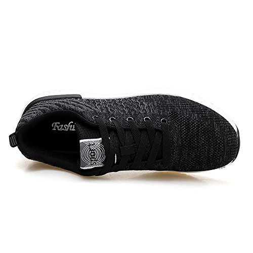 40 de Ligeras Transpirables Zapatillas Hombres Zapatillas para Malla Negras Black1 Casual wOxzx4qAa