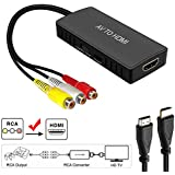 AV to HDMI Converter, RCA to HDMI, Composite CVBS to HDMI Video Audio Converter Adapter, Support PAL/NTSC with USB Charge Cable for Nintendo 64, PC, Laptop, Xbox, VHS, VCR,Camera, DV, HDMI Capture car