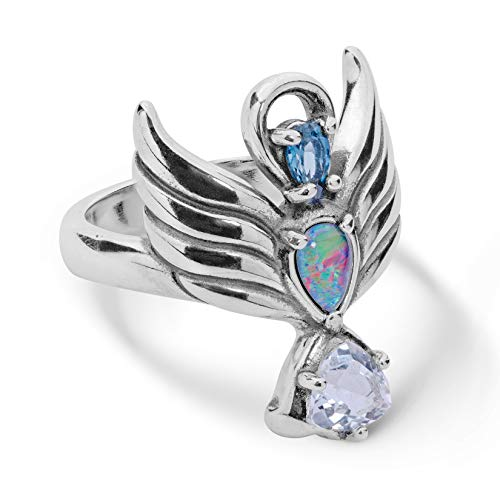 Carolyn Pollack Sterling Silver Guardian Angel Opal and Topaz Gemstone Ring Size ()
