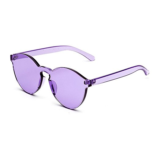 MINCL/FAshion Party Rimless One Piece pinky Clear Lens Color Sunglasses -yhl (purple, ca)