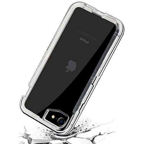 smartelf Case for iPhone SE 2020 Heavy Duty Hybrid Crystal Clear Dual Layer Cover Shockproof Bumper Reinforced Corners Protective Shell for Apple iPhone SE 2/7/8 4.7 inch-Clear