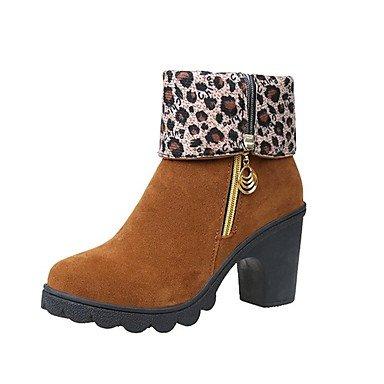 kekafu Botas de mujer botas de combate caen Suede vestido cremallera Chunky talón Borgoña Negro Marrón 2A-2 3/4in,Brown,US5.5 / UE36 / UK3.5 / CN35