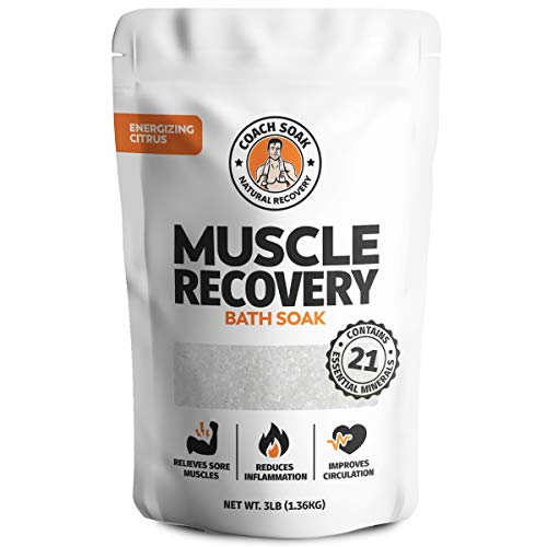Coach Soak: Muscle Recovery Bath Soak - Natural Magnesium Muscle Relief & Joint Soother - 21 Minerals, Essential Oils & Dead Sea Salt - Absorbs Faster Than Epsom Salt For Soaking (Energizing Citrus)