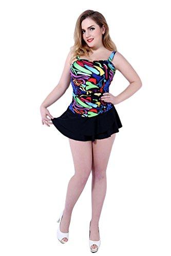 Baymate Mujer Talla Grande Impresión Bikini Traje De Baño De La Playa De La Honda Negro