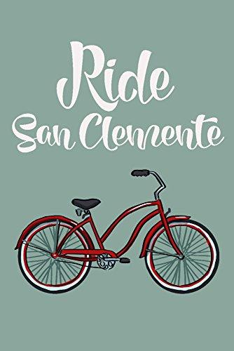 (San Clemente, California - Ride - Beach Cruiser Bike (16x24 Gallery Quality Metal Art))