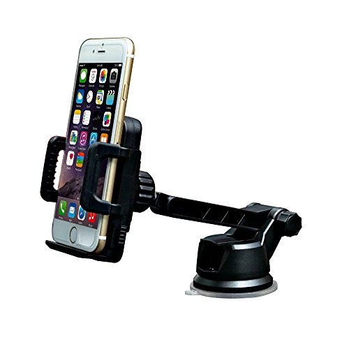 Universal Mobile Cell Phone Vehicle Dashboard and Windshield Mount with Adjustable Arm and 360° Rotation Head. Cradle Securely Holds Smartphones including iPhone, Android, Blackberry and GPS Devices.