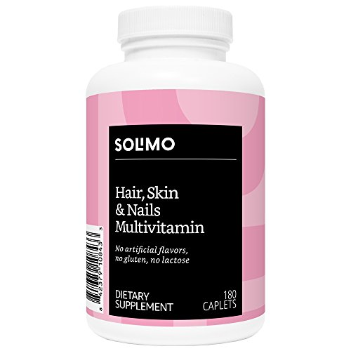 Amazon Brand - Solimo Hair, Skin & Nails Multivitamin, 180 Caplets, Three Month Supply