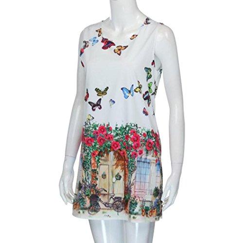 Spiaggia Senza Bianca Maniche Vestito Styledresser Mini da b Abito Stampato Donna Dress Vestito Casual Estivo Canotte Slim Donna Stampa Estate vqRO1U
