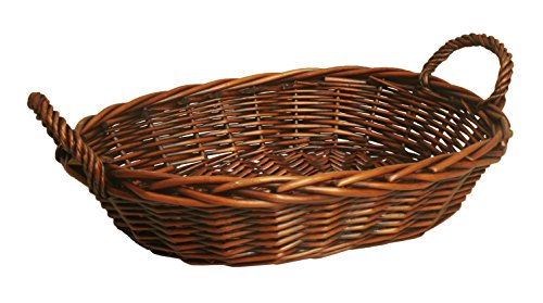 "Wald Imports 6600 Oval Willow Basket with Dark Brown Finish 14"" W x 18"" L x 4"" H"