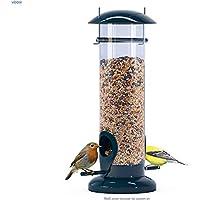 winemana Tube Bird Feeder, Squirrel Proof Hanging Wild Bird Feeder for Mix Seed Blends, Detachable Outside Anti-UV Weatherproof Bird feeders Outside (Black)