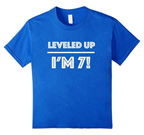 unisex-child Leveled Up! Happy 7th Birthday Boy T-Shirt 8 Royal Blue