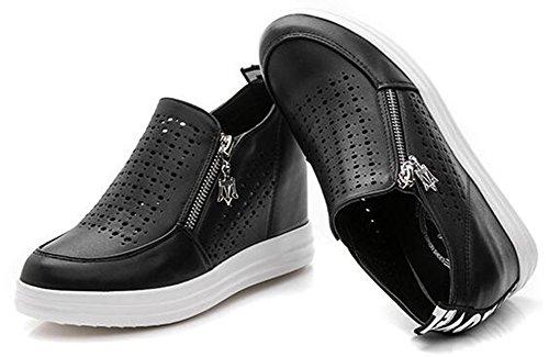 Chfso Womens Confortable Bout Rond Évider Charmes À Glissière Milieu Wedge Talon Chaussures De Mode Noir