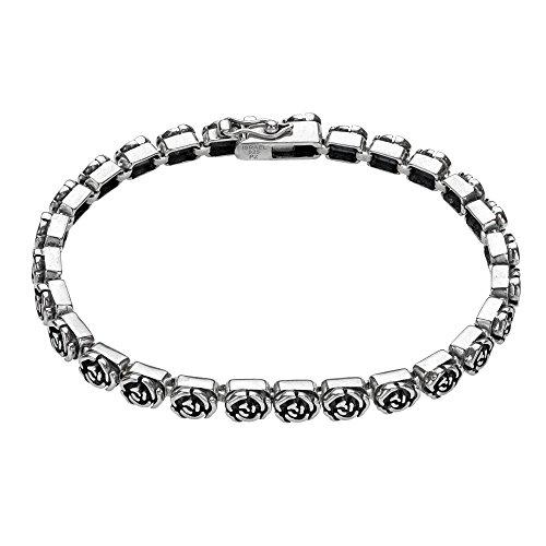 Sterling Silver Rose Bracelet - Paz Creations ♥925 Sterling Silver Rose Design Tennis Bracelet, Made in Israel (8)