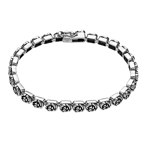 - Paz Creations ♥925 Sterling Silver Rose Design Tennis Bracelet, Made in Israel (6.75)
