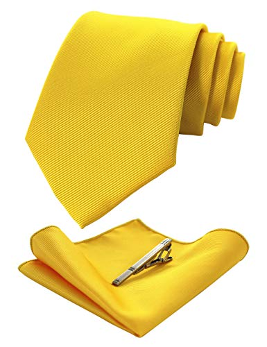JEMYGINS Yellow Formal Necktie and Pocket Square Tie Clip Sets for Men (36)