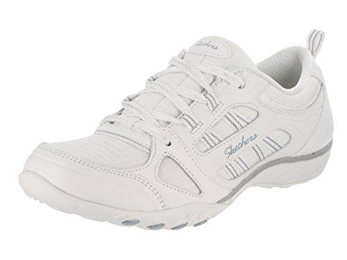 Skechers Sport Frauen atmen einfach viel Glück Fashion Sneaker Weiß / Grau / Blau