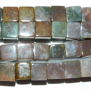 NG1659 Fancy Multi-Colored Jasper 10mm Square Cube Natural Gemstone Beads 15