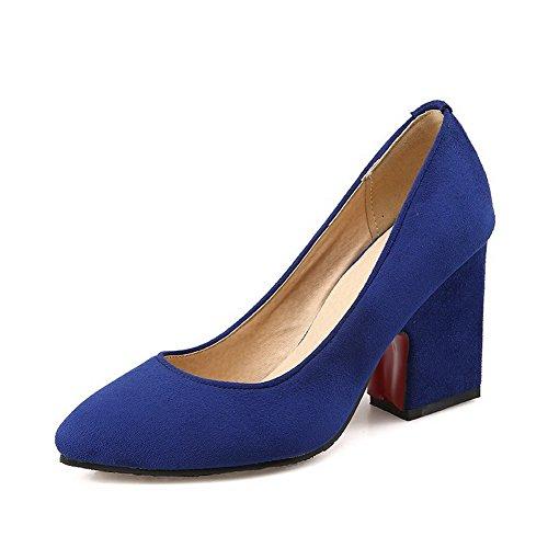 VogueZone009 Damen Rein Nubukleder Hoher Absatz Spitz Zehe Ziehen auf Pumps Schuhe Blau