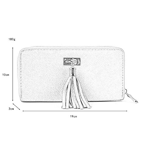 Wallet PU Long Clutch Purse Leather Utility Card Zipper Darkblue Women��s Holder Tassel GLITZALL with qZTwAvx
