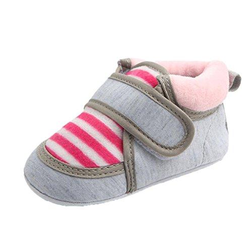 Babyschuhe Longra Outdoor Baby Stripe Infant Slip Erste Walker Lauflernschuhe Neugeborene Baby Mädchen Stiefel Krippeschuhe (0 ~ 12 Monate) (12CM 6 ~ 9 Monate, Pink)
