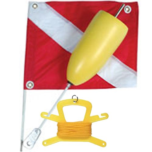 JCS Super Float with Standard 14inch x 18inch Nylon Dive Flag, Line Holder & 100 Feet Poly (Yellow) (Flag Scuba Gear)