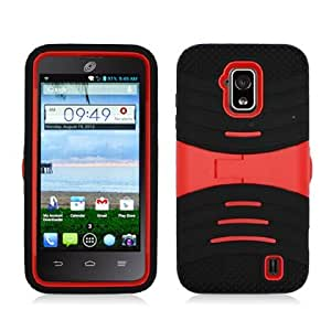 CYstore RUGGED Dual Layer Armor Cover Case With Kick Stand For ZTE Solar Z795G (Include a CYstore Stylus Pen) - Red/Black