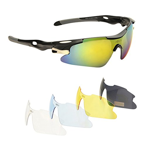 Hisea Polarized Sports Sunglasses with 5 Interchangeable Lenes for Men Women Cycling Running Driving Fishing Golf Baseball Glasses, Tr90 Unbreakable - Sunglasses Zungle Amazon