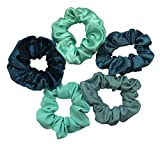 Shades of Teal/Turquoise Scrunchies (5 Pack)