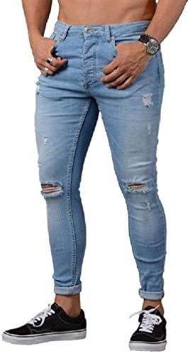 VITryst Men's Slim-Fit Ripped Hole Tapered Skinny Fashion Denim Jeans