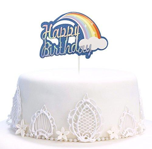 Diy Monogram Cake Topper - Happy Birthday Cake Topper, Rainbow Twinkle DIY Glitter First Birthday Cupcake Topper Cake Smash Candle Alternative Party Handmade (Blue)