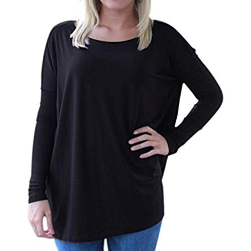 Piko Women's Famous Long Sleeve Bamboo Top Loose Fit (SMALL, BLACK)