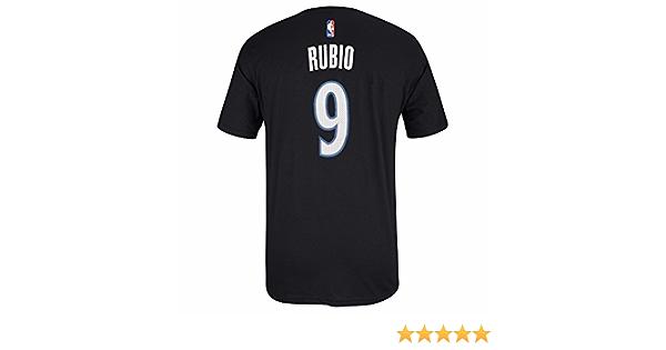 Ricky Rubio NBA Minnesota Timberwolves Adidas hombres negro oficial reproductor nombre y número Jersey camiseta, Negro: Amazon.es: Deportes y aire libre