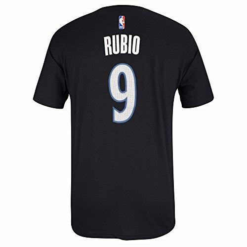 adidas Ricky Rubio Minnesota Timberwolves NBA Men Black Official Player Name & Number Jersey T-Shirt (2XL) ()