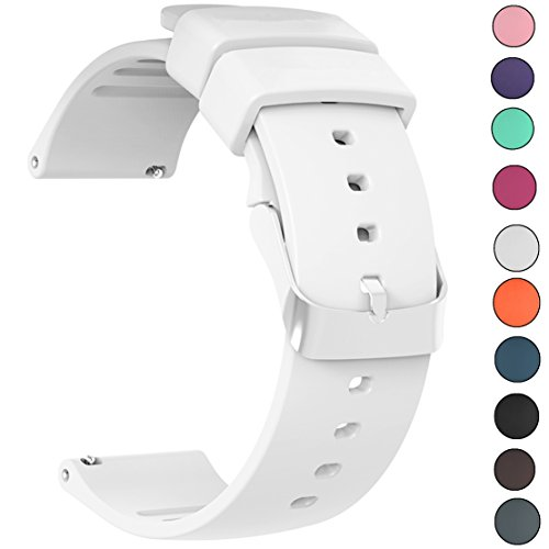 JIELIELE Compatible 22mm Wristbands, Silicone Watch Band Straps Accessory for Samsung Gear S3 Frontier/Classic/Gear 2 / Galaxy Watch 46mm / Fossil Q Wander/Huawei Watch GT (White, 22mm)